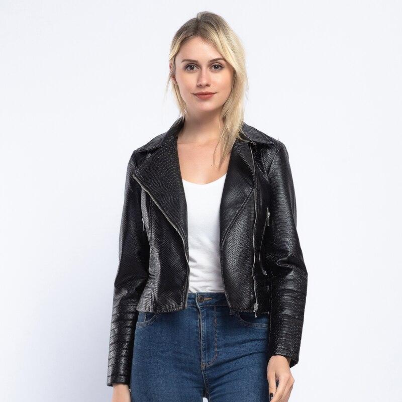 Marque serpent imprimer PU cuir veste femmes 2019 printemps automne nouveau mode court manteau solide fermetures à glissière survêtement Biker veste AO900