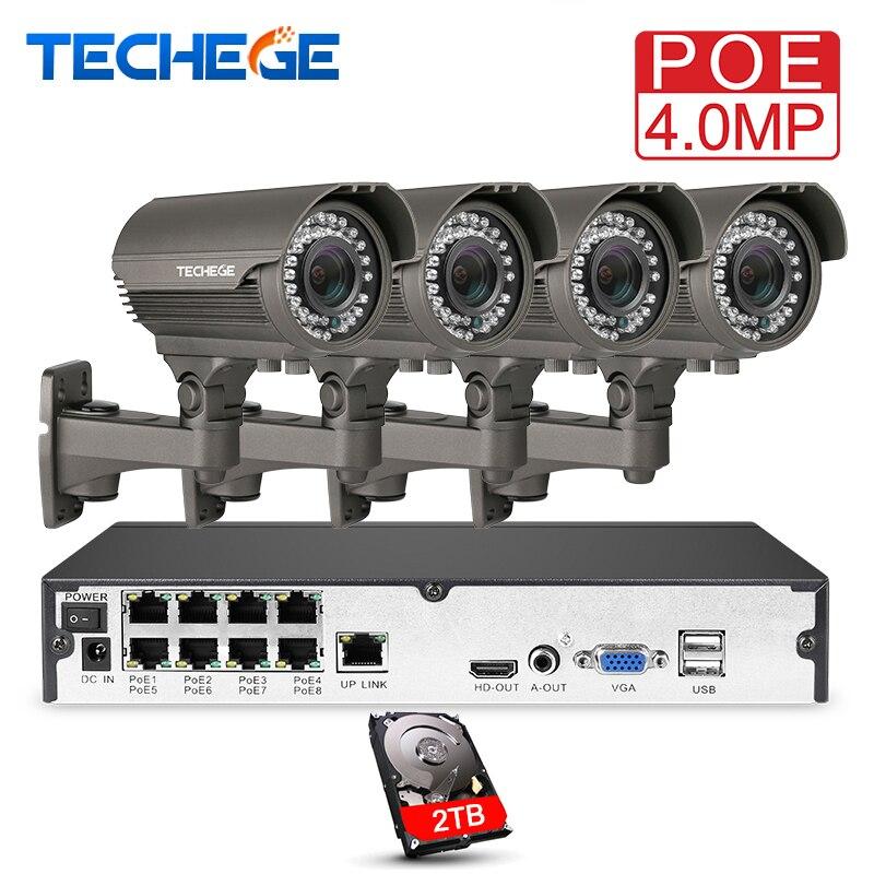 Techege H.265 8CH Système POE 2.8-12mm Manuel Lentille 4.0MP IP Caméra 2560*1440 Imperméable À L'eau En Plein Air Vidéo kit de Surveillance De sécurité