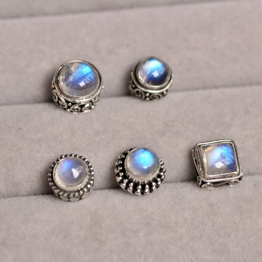 manual 925 silver earrings natural moonstone vitreous stud earrings ear bone nail restoring ancient ways men and women
