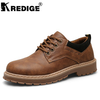 KREDIGE Breathable PU Low Casual Shoes Mens Non Slip Soles Lace Up Tooling Shoes New British