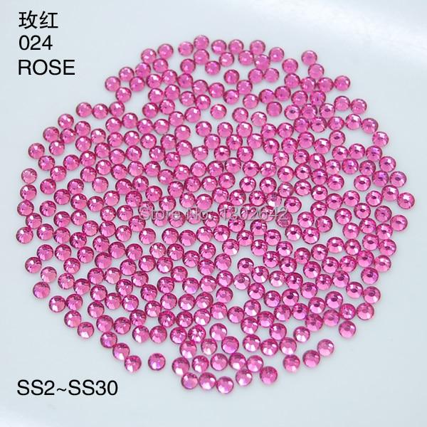 S9 1440pcs/Lot  3.0mm-3.2mm New Crystal Flat back Nail Art Glue Rose Rhinestones Foiled  For DIY nails Decoration SS12