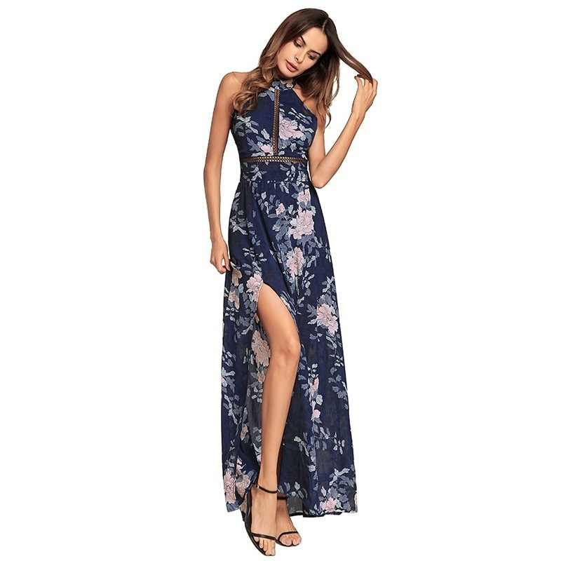 51278b350da2 ... Ruiyige 2018 Women Floral Print Halter Chiffon Long Dress Sexy Split  Backless Summer Hollow Out Party ...