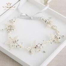 Wedding Handmade Silver Hairbands Brides Korean Soft Pearls Tiara Headwear Crystal Hair Jewelry