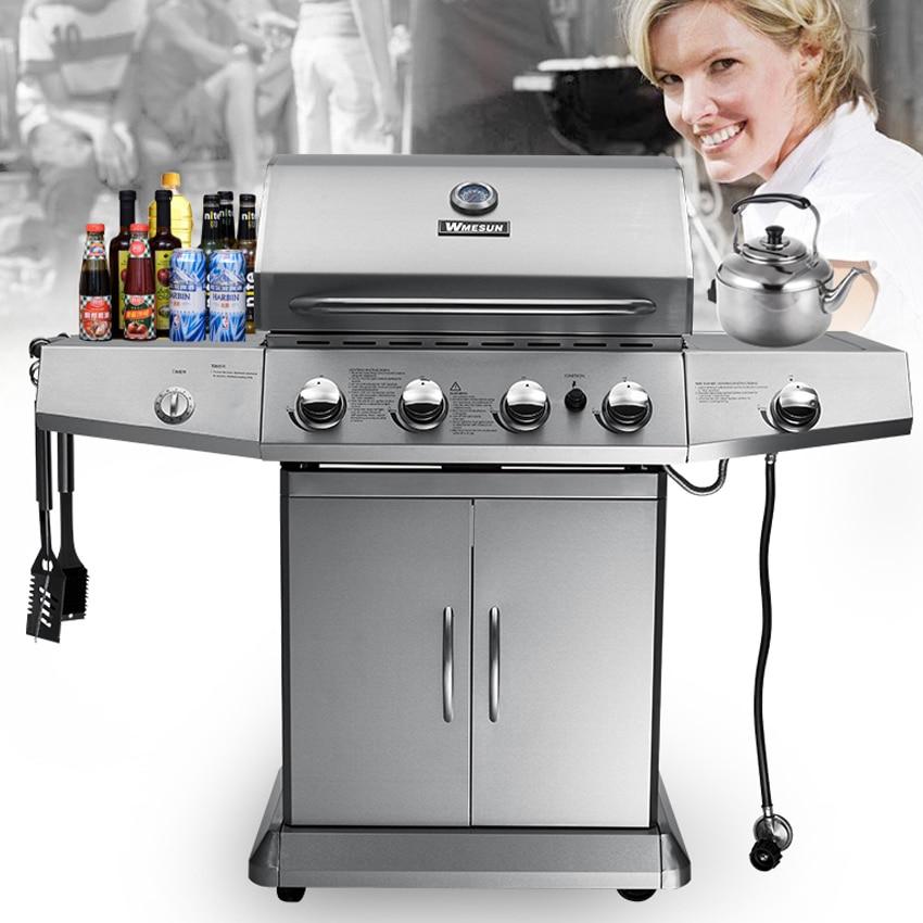 Gril de Barbecue à gaz quatre brûleurs + brûleur Sider, four de cuisinière à gaz extérieur Commercia tout le Gril de Barbecue d'acier inoxydable facilement nettoyé CE