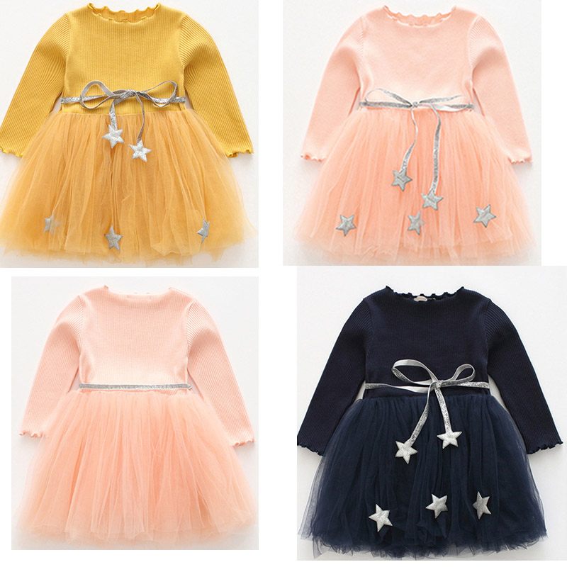 Baby girls dress 2018 autumn fashion new Kids Children Girls Knitted Long Sleeve stars belt Lace stripe Tutu Dress Clothes L181