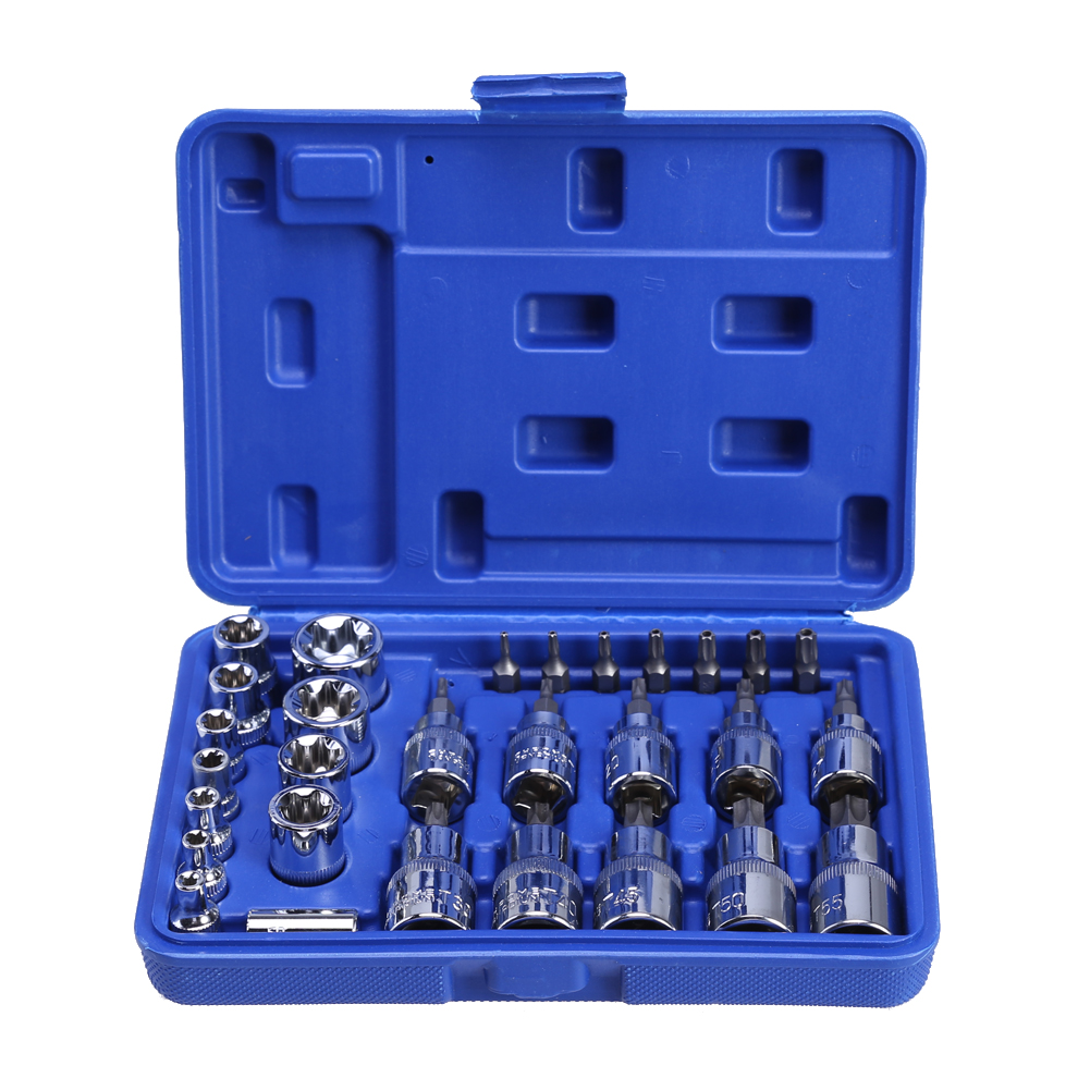 29pcs Star Torx Socket Bit Tools Set Male Female Sockets with Torx Bit Sq Drive Bit Adaptor Auto Car Mechanics Repair Tools mainpoint 1 4 1 2 3 8 e socket sockets set cr v torx star bit combination drive socket nuts set for auto car repair hand tool