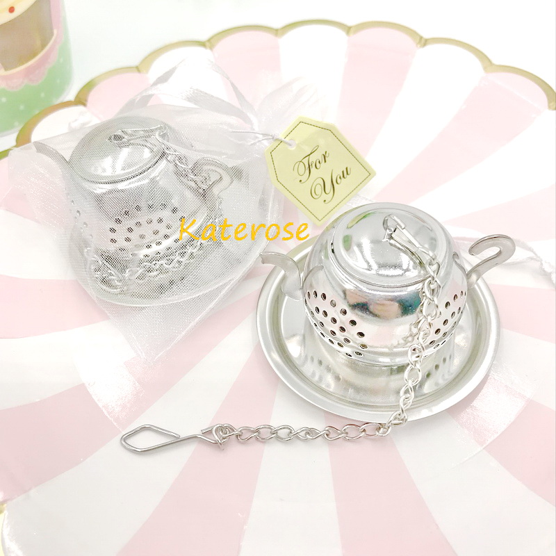 FREE SHIPPING 30pcs/Lot Tea Party Supplies Stainless Steel Round Teapot Tea Infusers Wedding Tea Strainer Favors-in Party Favors from Home & Garden    1