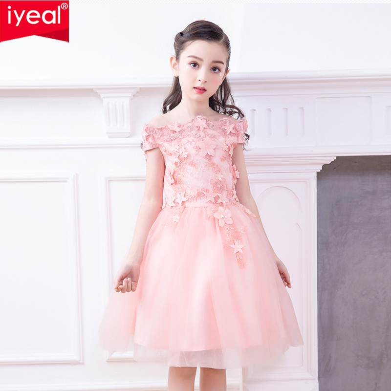 IYEAL Glizt Girls Off the Shoulder Wedding Dress Appliques Party Tulle Princess Birthday Dresses First Communion Gown for Kids цена 2017