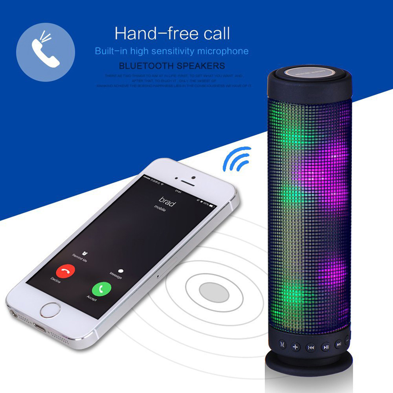 New Portable Speaker 360 Degree Music Surround Stereo Sound Recharging Wireless Sound LED Bluetooth SoundBox Loudspeaker  360 degree dc 5v usb surround stereo bluetooth speaker portable rechargeable wireless led lights sound speaker for smartphone