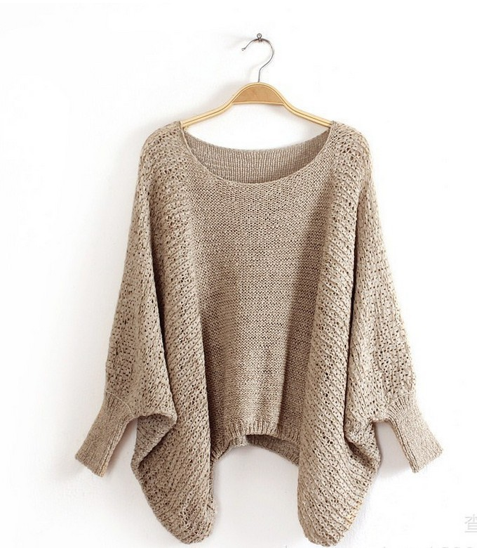 Women Poncho Sweater Ladies Knitted Pullover Sweater Casual Solid ...