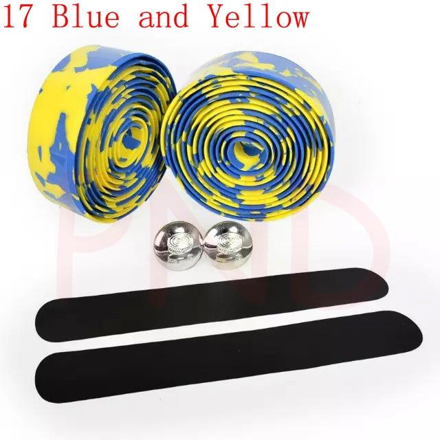 Лента на руль для шоссейного велосипеда камуфляжная велосипедная ручка на ремне пробковая обмотка с заглушками 17 цветов FZE001 - Цвет: 17 Blue and Yellow