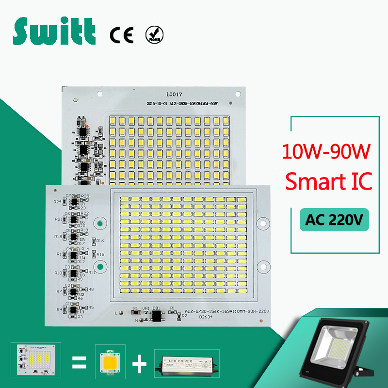 Smart IC LED lamp Chips 220V 10W 20W 30W 50W 90W 230V LED Bulb For Outdoor FloodLight Cold White/Warm White ...