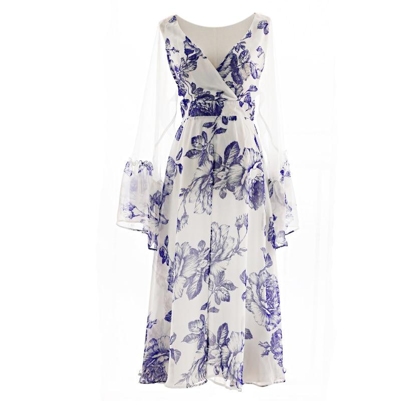 Femminile Medio Vestito Blu Stile Un Cardigan Grande Cinese Kimono lungo Estate Primavera Di Allentato Vintage Pezzo xw78FYq
