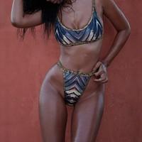 2017 Women Colorful Striped Print Bandeau Thong Brazilian Bikinis Set Swimsuit Beach Wear Swimwear Bathing Suit