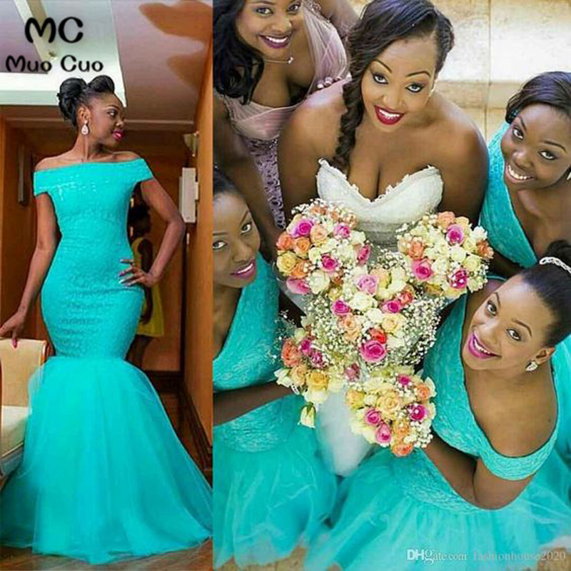 Hot South Africa Style Nigerian Bridesmaid Dresses Plus Size Mermaid Maid Of Honor Gowns For Wedding Off Shoulder Turquoise Tulle Dress2 3_