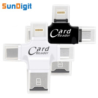High Quality 4 In 1 TF Card Reader Type C Lightning Micro USB Micro SD Card