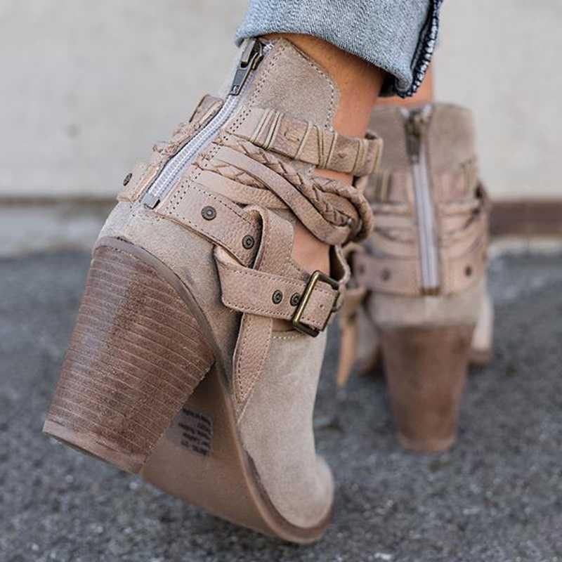 LOOZYKIT/женские ботинки; Осенняя обувь на высоком каблуке; женская повседневная обувь с заклепками и пряжкой; Полусапоги; ботильоны из искусственной кожи; Прямая поставка