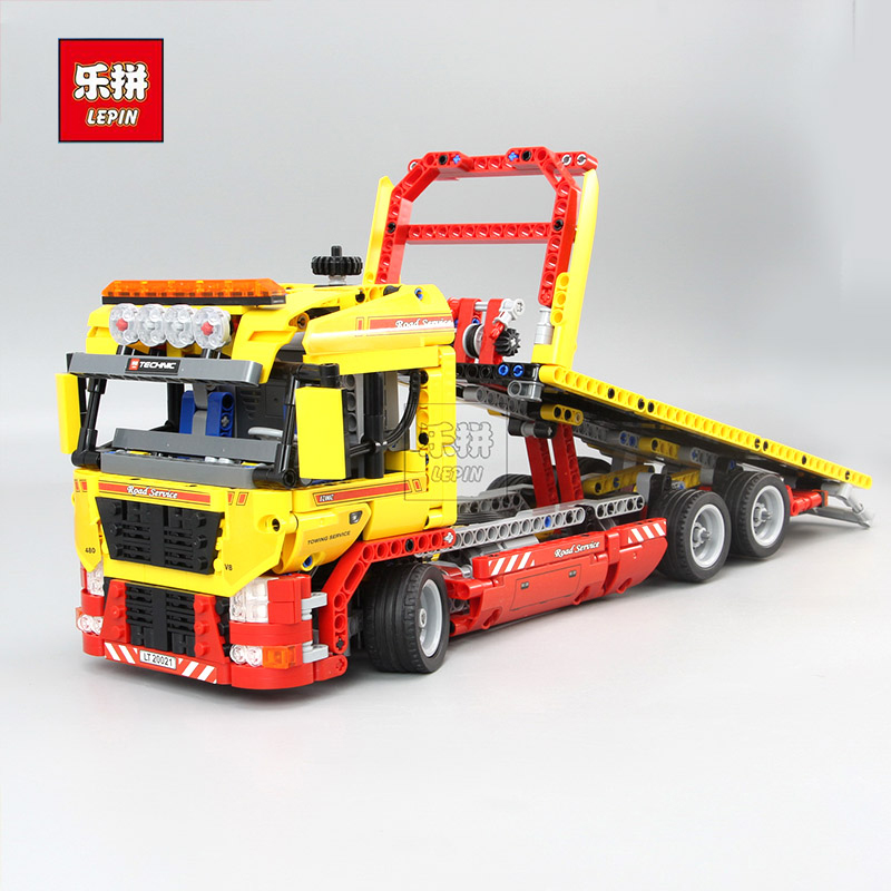 New LEPIN 20021 technic series 1143pcs Flatbed trailer Model Building blocks Bricks Compatible Toy Gift Educational Car 8190 new lepin 21003 series city car beetle model educational building blocks compatible 10252 blue technic children toy gift