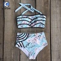 Cupshe Pick Me Up Floral Halter Bikini Set Women Summer Sexy Swimsuit Ladies Beach Bathing Suit