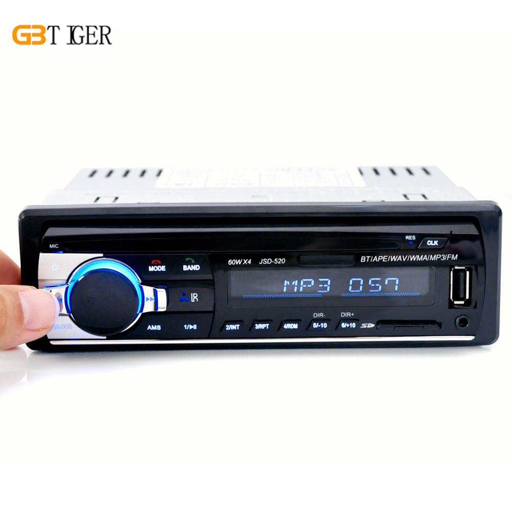 Prix pour JSD-520 Autoradio 1 Din Stéréo Audio MP3 Lecteur BluetoothV2.0 12 V En-dash Récepteur FM Unique Aux Récepteur USB SD À Distance contrôle