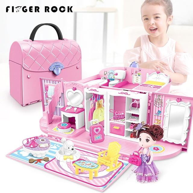 Finger Rock Kids Pretend Play Kitchen Toys Set Secure Lock Princess Handbag Kits With Light & Sound Christmas Gift Toys For Girl