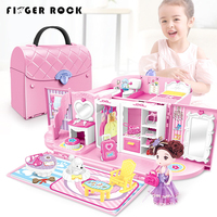 Finger Rock Kids Pretend Play Kitchen Toys Set Secure Lock Princess Handbag Kits With Light & Sound Christmas Gift Toys For Girl