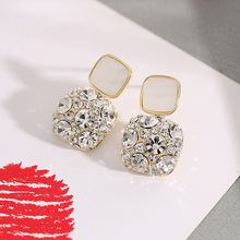 2019 Unique Design Love Heart Square Shape Dangle Earring For Women Crystal Charm Wedding Jewelry Party Statement Drop