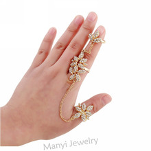 7-RZ0107 2017 New Arrival Women Multiple Leaf Crystal Stack Knuckle Band Hot Finger Rings Set Fashion Jewelry For Women For Gift