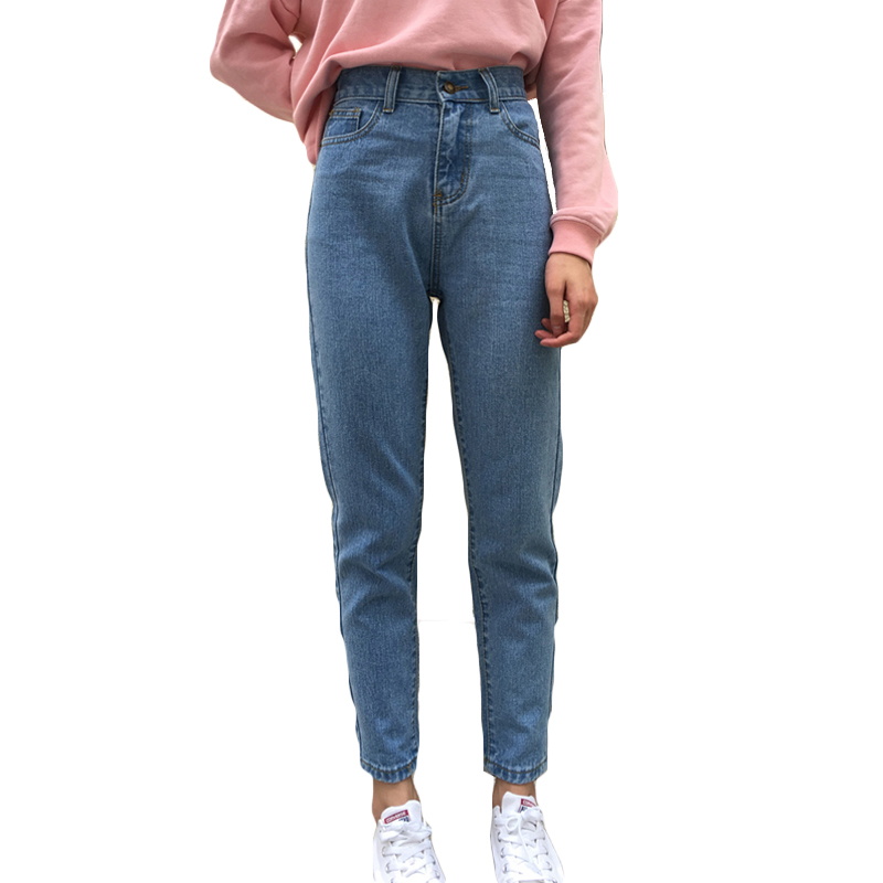New 2017 Jeans Women Straight Pants Casual Trousers Denim Pants Fashion Loose Vaqueros Vintage Boyfriend High Waist Jeans E852 2014 new fashion reminisced men vintage trousers casual jeans wash capris pants loose plus size overalls zipper denim jumpsuit
