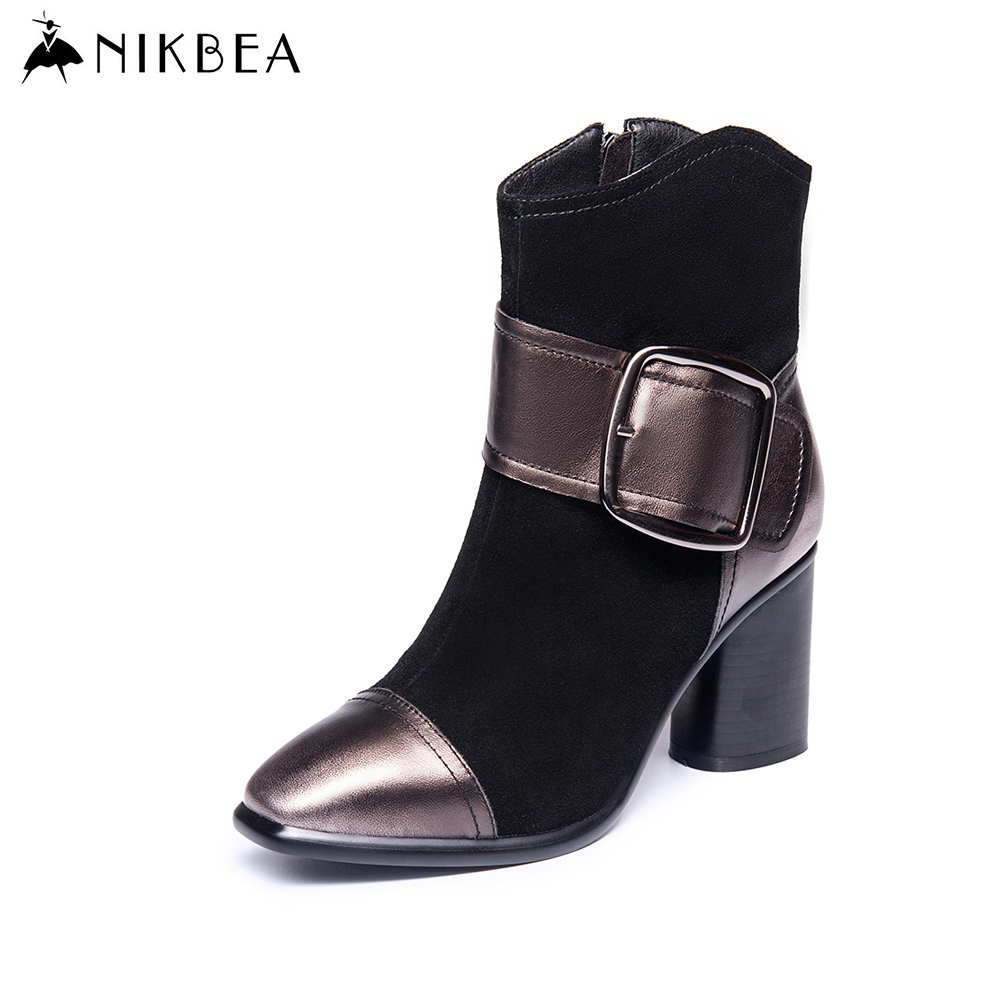 Nikbea Handmade Brand Genuine Leather Ankle Boots for Women Large Size Fashion High Heels Suede Botines Mujer 2016 Autumn Winter nikbea handmade genuine leather western boots cowboy large size women pointed toe boots 2016 autumn shoes fashion botas mujers