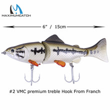 Maximumcatch 1pc Swimbait 3-Jointed 15cm/46g Hard Bait Sinking 0-0.5m Bass Fishing Lure with 2# VMC Treble Hook Hard Lure
