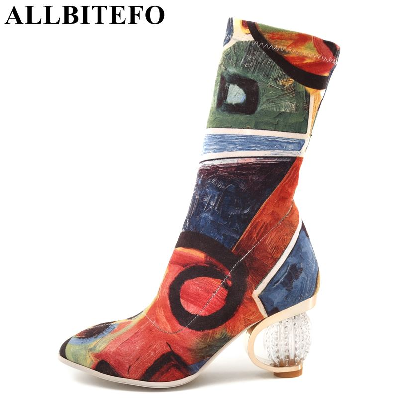 ALLBITEFO size:34-43 crystal heel Stretch cloth women high heel shoes fashion mixed colors high-heeled women boots winter boots