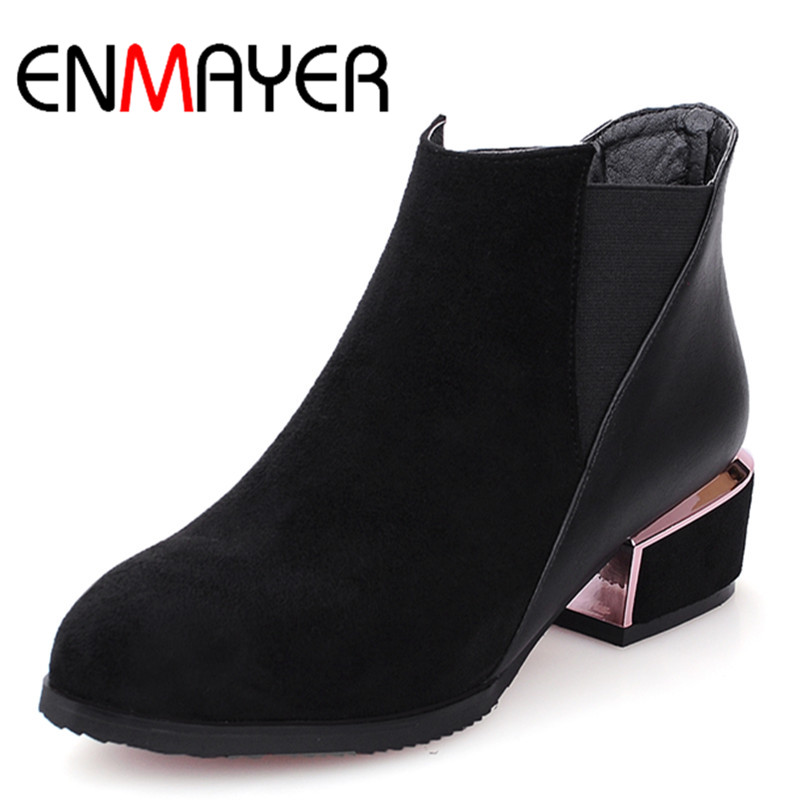 ENMAYER Low Heels Ankle Boots for Women Pointed Toe Spring & Autumn Platform Black Shoes Woman Large Size 34-43 Motorcycle Boots enmayla ankle boots for women low heels autumn and winter boots shoes woman large size 34 43 round toe motorcycle boots
