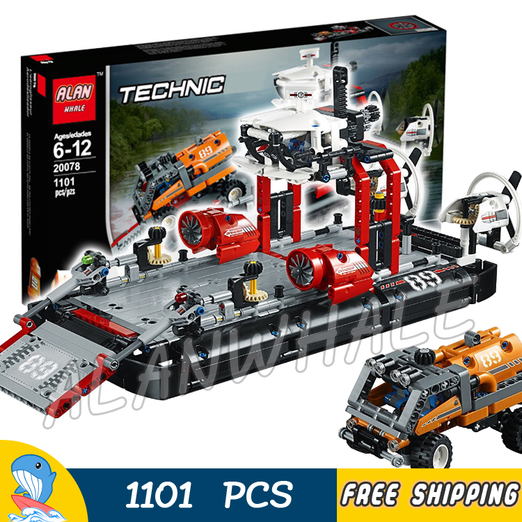 1101pcs 2in1 Techinic Hovercraft Jet Boat Ferry Expedition Truck 20078 DIY Model Building Blocks Toy Bricks Compatible With lego 760pcs techinic 2in1 new series