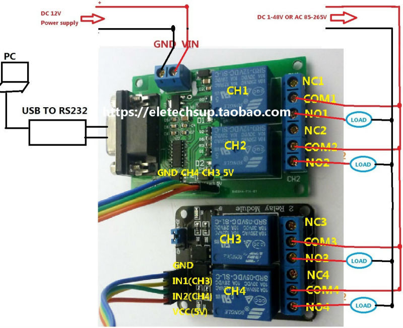tb351 1 yc065 1 dc 9v12v 4channel rs232 relay serial port uart board rh aliexpress com 12V Dual Battery Wiring Black White DC 12V Wiring
