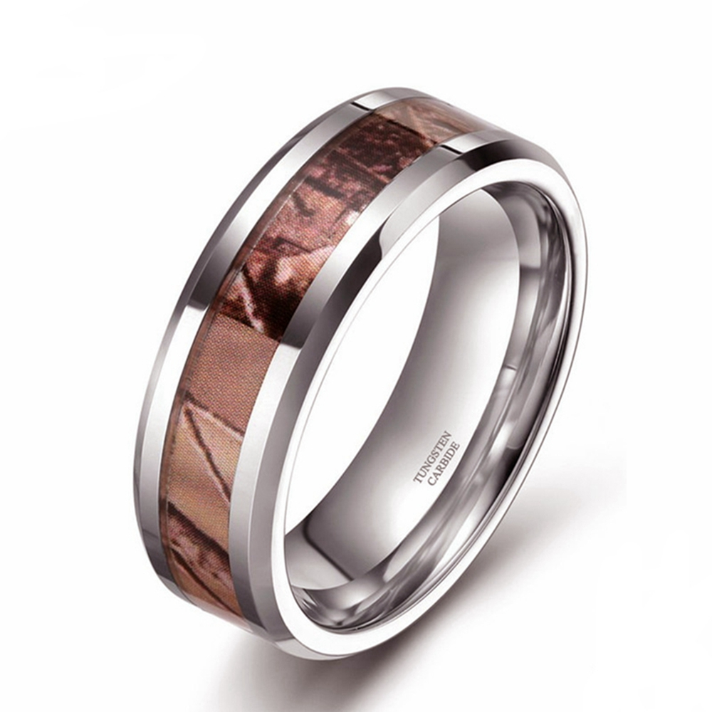 Men's Ring Tungsten Carbide Ring 8mm Carbon Fiber Embedded Engagement Ring Wedding Jewelry Fashion
