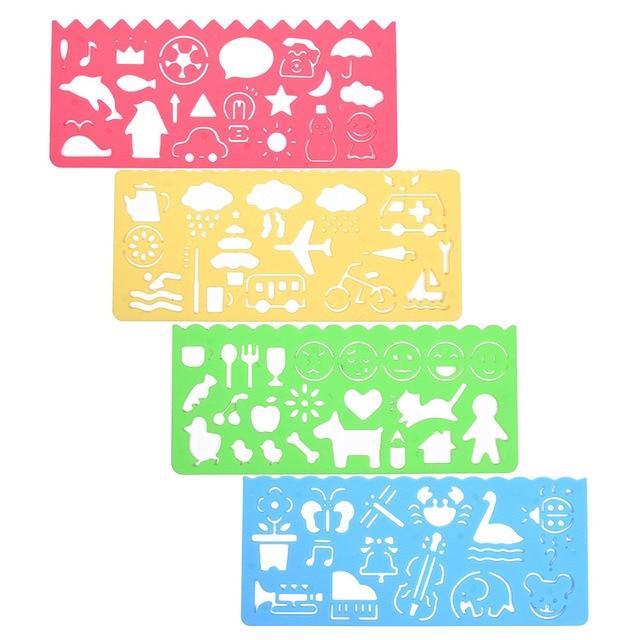 xrhyy set of 4 plastic drawing stencils drawing drafting templates