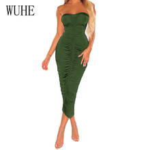 WUHE Summer Strapless Pleated Long Dress Women Off Shoulder Backless Sexy Bodycon Club Party Maxi Dresses for