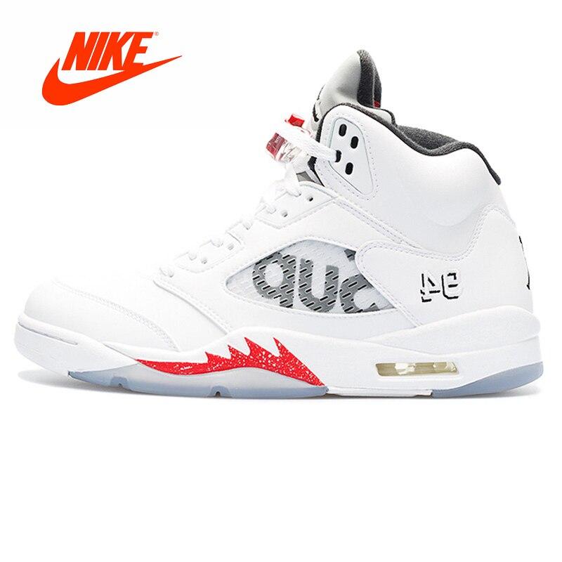 Original Nouvelle Arrivée Authentique Nike Air Jordan 5 Retro Suprême Hommes Chaussures De Basket-Ball de Sport de Sport En Plein Air 824371- 101