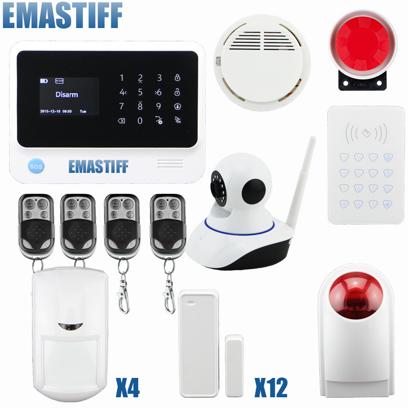 2016 2.4G WiFi GSM GPRS SMS Wireless Home Security Intruder Alarm System with HD 720P Wifi IP Camera Smoke Detector цена и фото