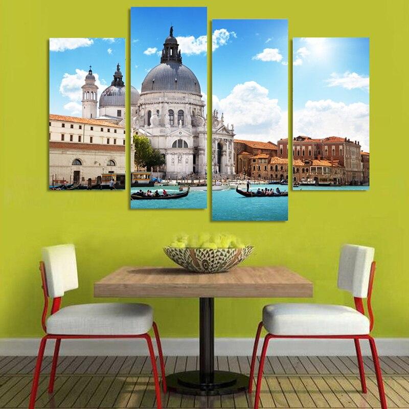 Popular 4 Panels Modern Wall Painting Beautiful Scenery Venice ...