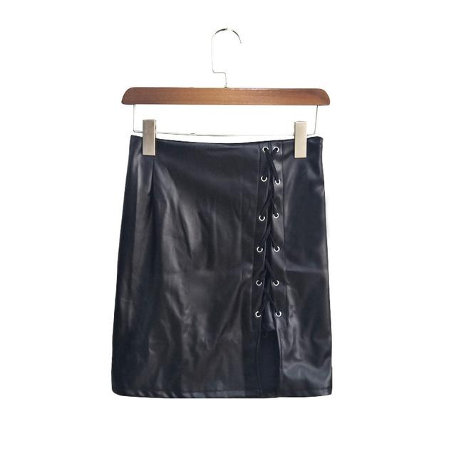 2020 Women's skirt explosive belt under the open fork Leather skirt high Wrap hip hip skirt  bandage black plus size skirt QP031