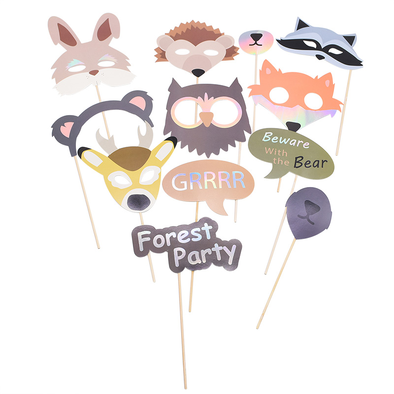 Cute Animal Fox Deer Forest Party Christmas Photo Props Booth Festival Baby Shower Wedding Birthday Party Decoration Accessories