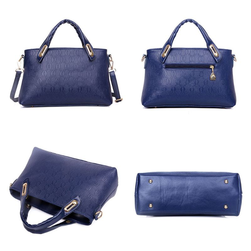 4PCS/Set Women Lady PU Leather Handbag Polyester Shoulder Bags Tote Purse Satchel Messenger