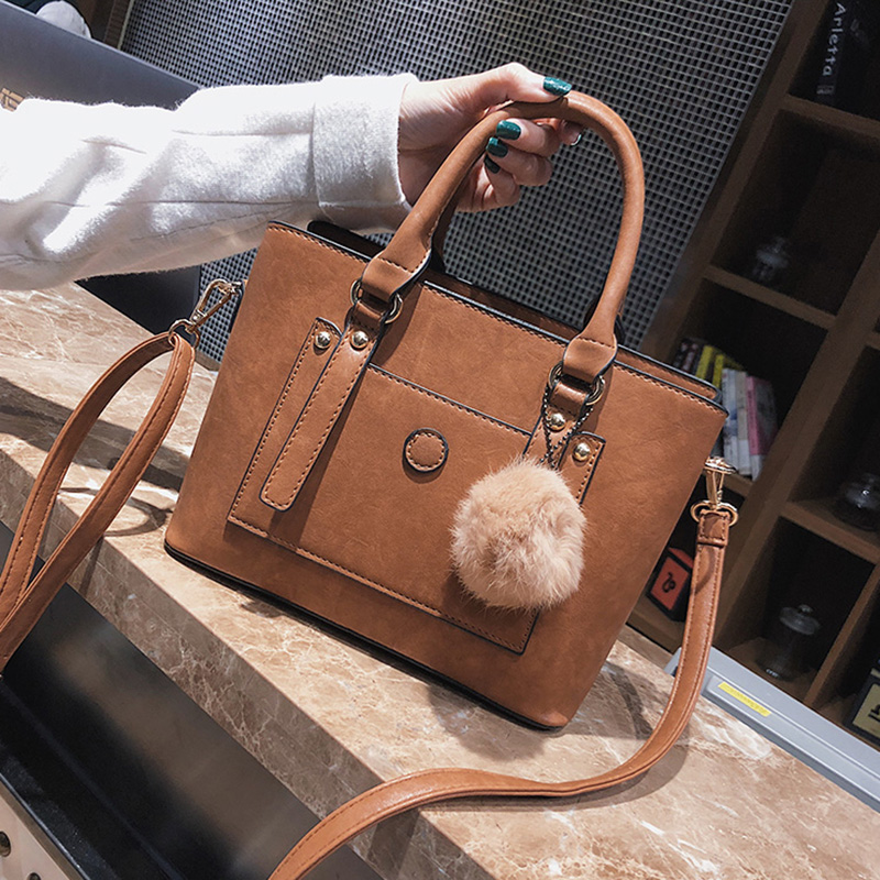 ETAILL Luxury Top Handle Bags for Women Vintage Shoulder Bags with Fur Ball Women Shopping Tote Bag Designer Brand Handbags