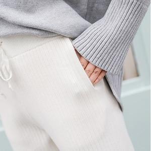 Image 5 - Mid Waist Knitted Harem Pants Women Trousers Drawstring Skinny Pants Pockets  Knitted Striped Sweatpants pantalon femme 2019
