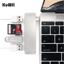 KuWfi USB 3,0 lector de tarjetas de Metal 3 en 1 lector de tarjetas OTG USB tipo c Micro USB Combo TF Lector de Tarjetas Micro SD para ordenador portátil PC y teléfono