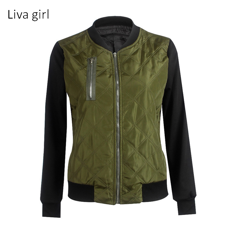 liva girl 2017 Fashion Women Winter Warm Quilted Zipper Stand Collar Slim Coat Jacket Padded Bomber