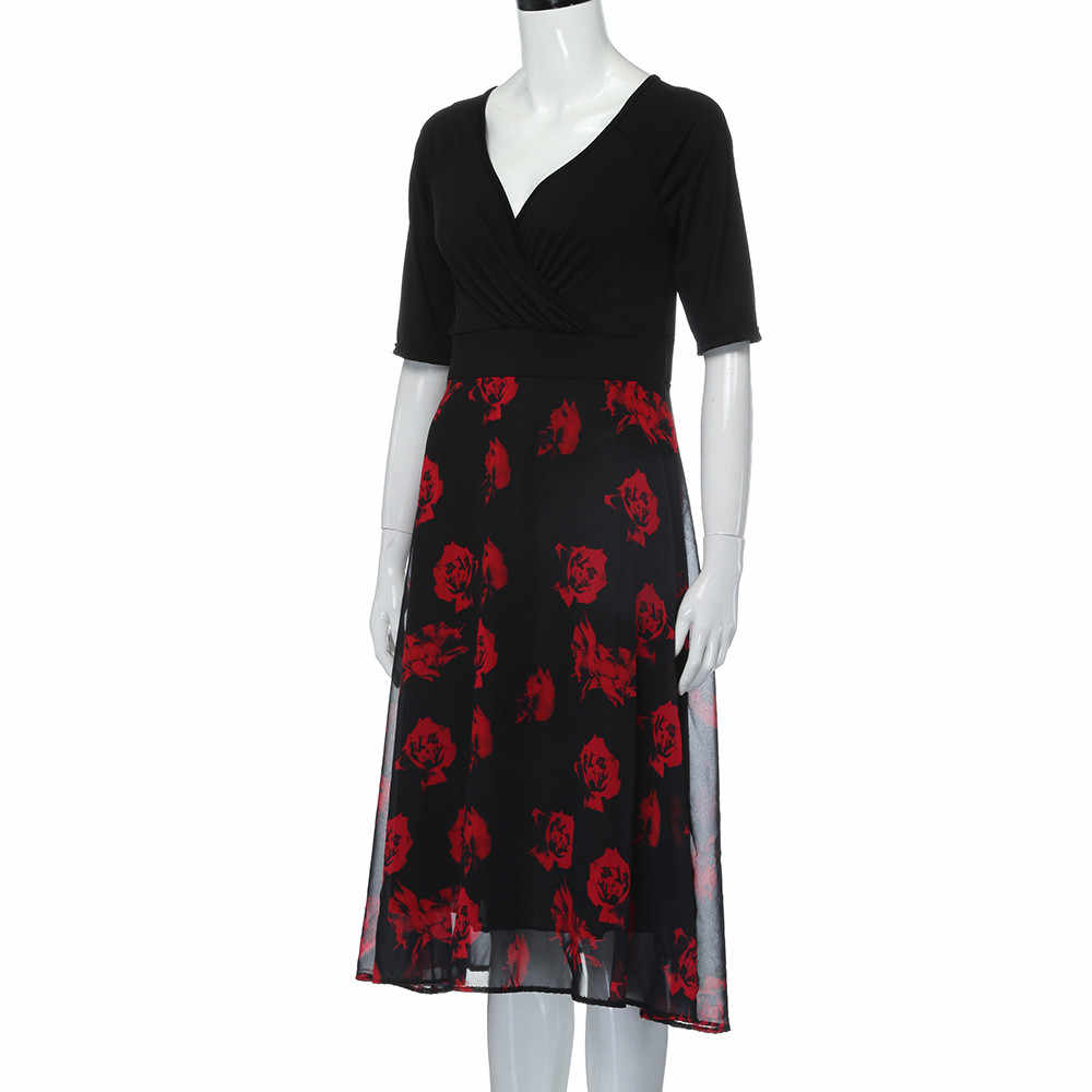 CHAMSGEND Feitong 슈퍼 빅 사이즈 3XL 여름 드레스 여성 v 넥 짧은 소매 레이스 긴 파티 드레스 공식 맥시 드레스 플러스 사이즈