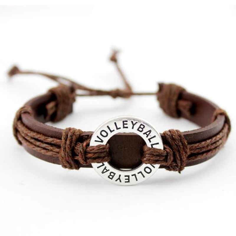 New Style Volleyball Adjustable Leather Bracelet for Men & Women Friendship Bangle Punk Casual Wristband Jewelry 10pcs/lot